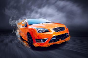 Printed roller blinds Fast cars Beautiful orange sport car in fire
