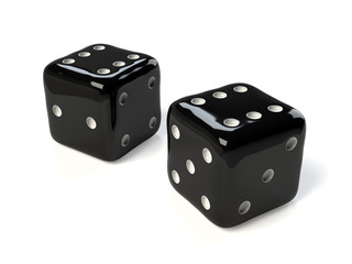 Pair of black dice isolated on white background