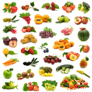 large page of bio fruits and vegetables