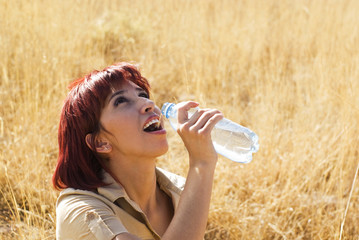 woman tastes water