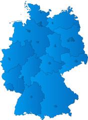 Deutscland + Bundesländer + Hauptstädte - blau