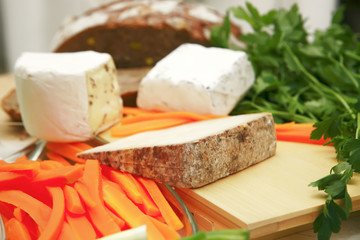 cheeses and vegetables