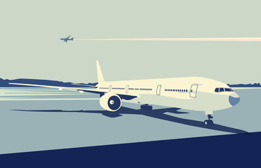 detailed airplane on the urban airport scene