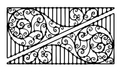 architectural detail for forged fence corner black and white