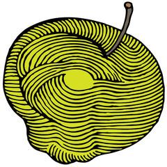 yellow apple engraved