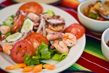 Mexican seafood salad with shrimp and calamari