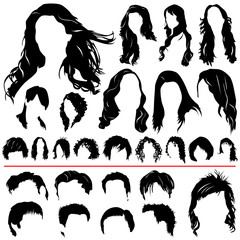 women and men hair vector (different style)