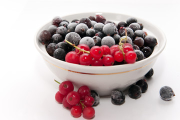 Frozen red and black currants