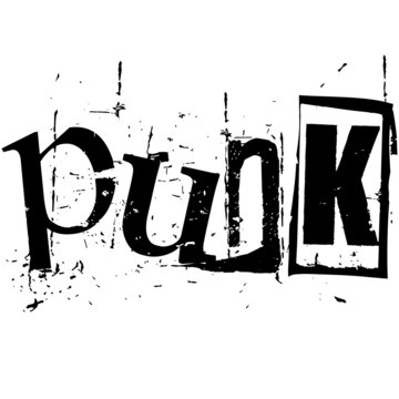 the word punk written in grunge cutout style