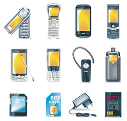 Vector mobile phones icon set
