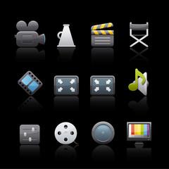 Icon Set in Black - Film Equipment
