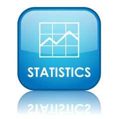 "Square ""STATISTICS"" button with reflection (blue)"