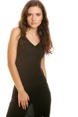Young beautiful woman wearing black dress