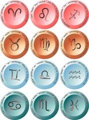 Zodiacal signs - multi-coloured buttons