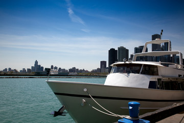 boat moored in the bay of Chicago