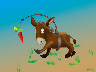 Donkey pursuing a carrot