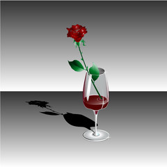 rose in goblet