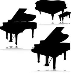 piano vector silhouettes