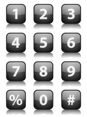 "Square ""Number"" button with reflection (black) (x12)"