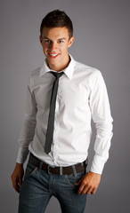 young attractive male model smiling