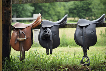 Keuken foto achterwand Paardrijden Saddles