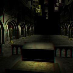 stereo rendering of a cathedral. 3D with red-blue google