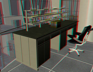 anaglyph image of a modern lab. use a red-blue google to see 3d