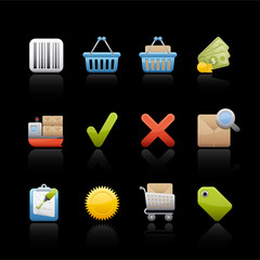 Icon Set in Black - Shopping