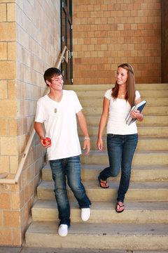 Back to School, Teens Walking School Stairs.