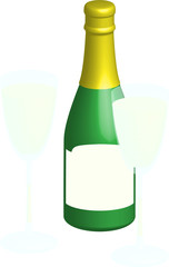 bouteille et coupe de champagne, vecteur