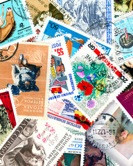 Diverse and colorful vintage postage stamps