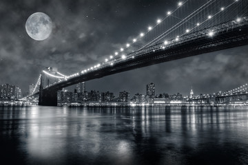 Fotobehang Volle maan Brooklyn Bridge