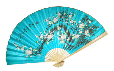 blue Chinese fan on a white background