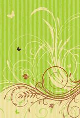green Grunge Floral Decorative background