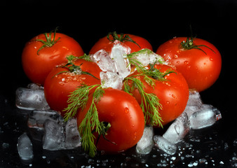 Fresh tomatos with ice and salt