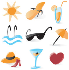 Set of smooth and glossy icons for vacations and resort