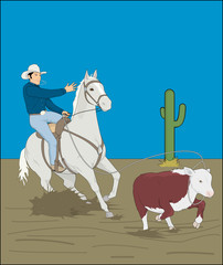 Aluminium Prints Wild West cowboy with horse, catches a cow with a lasso, rodeo