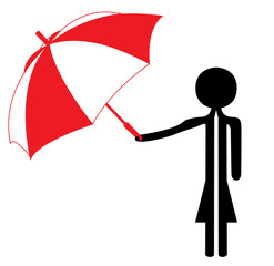 woman with red and white umbrella