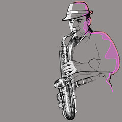 Wall Mural - saxophonist on a grey background