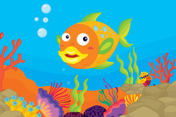 Wall Murals Submarine underwater coral reef scene with sea life