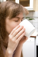 Young Girl with Morning Coffee