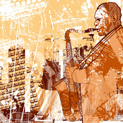 Wall Mural - saxophonist on a grunge background