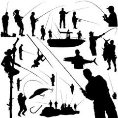 fishermen and fishing equipment vector