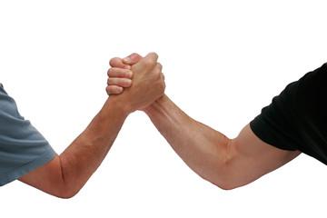 two hands men wrestling