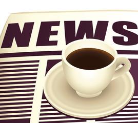 Coffee on newspaper