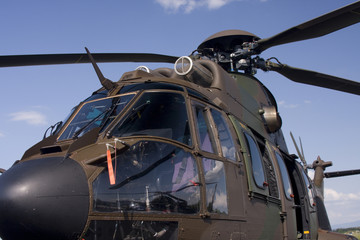 Detail of the military helicopter.