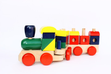 Little wooden train toy