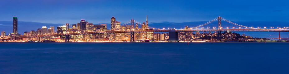 Deurstickers San Francisco San Francisco panorama at night
