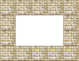 gold antique frame with diamonds isolated on white background