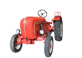 alter roter Traktor, freigestellt